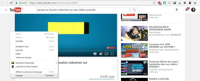 inspecter une video youtube