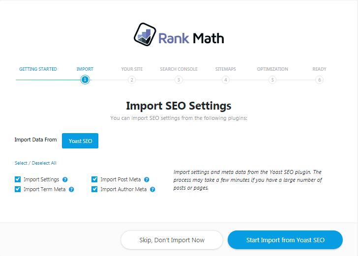 options d'importation données rank math