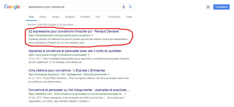 exemple de page positionnée sur google