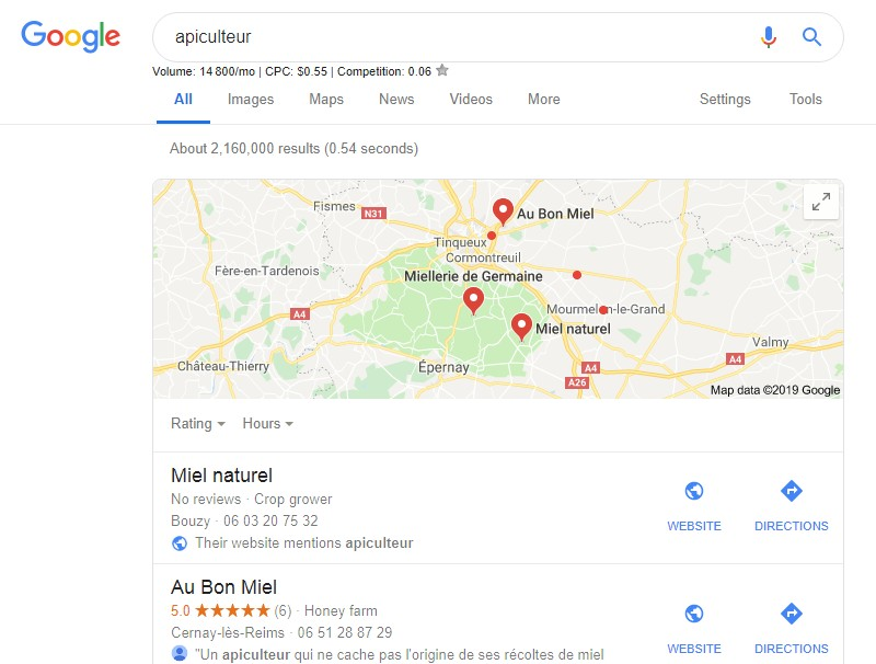 exemple de recherche google my business
