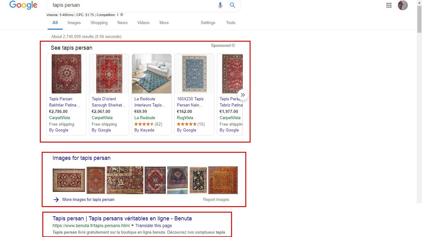 exemple de recherche sur google