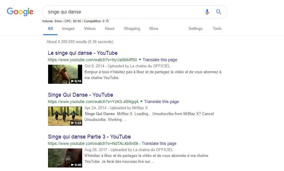 exemple recherche video sur google