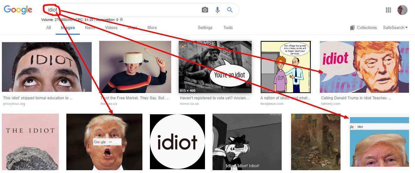 Donald Trump dans google image sur le mot idiot