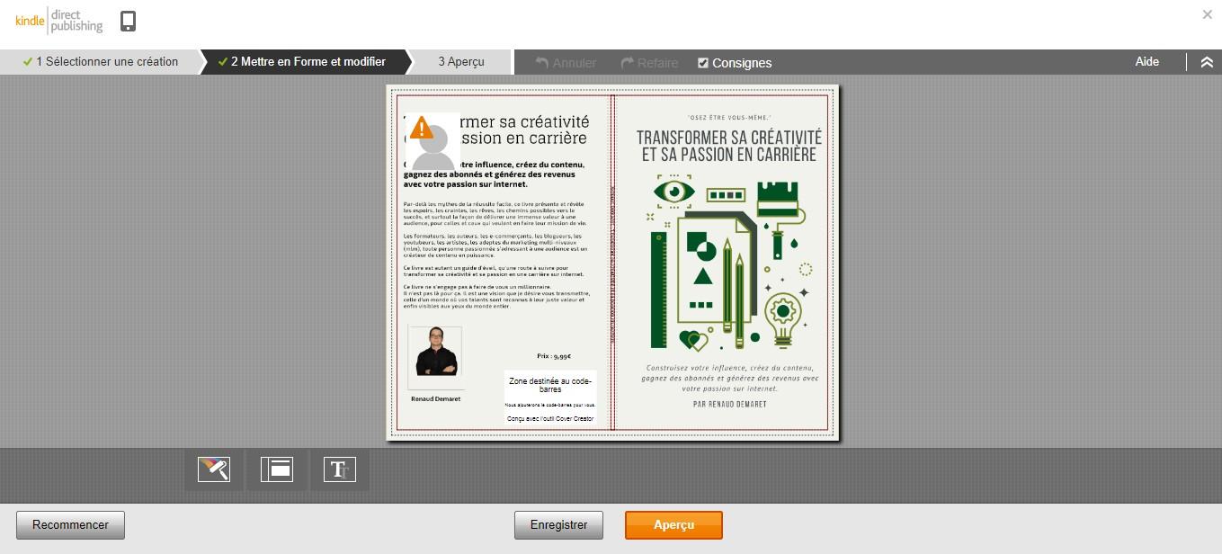 couverture de livre papier modifée dans amazon kdp
