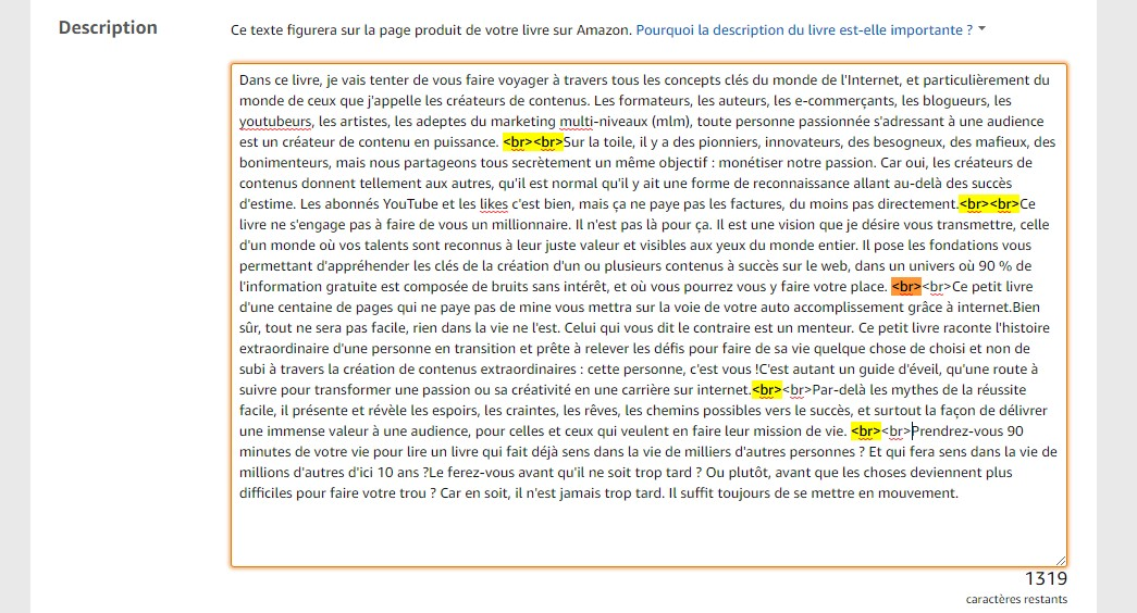 formatage description dans amazon kdp