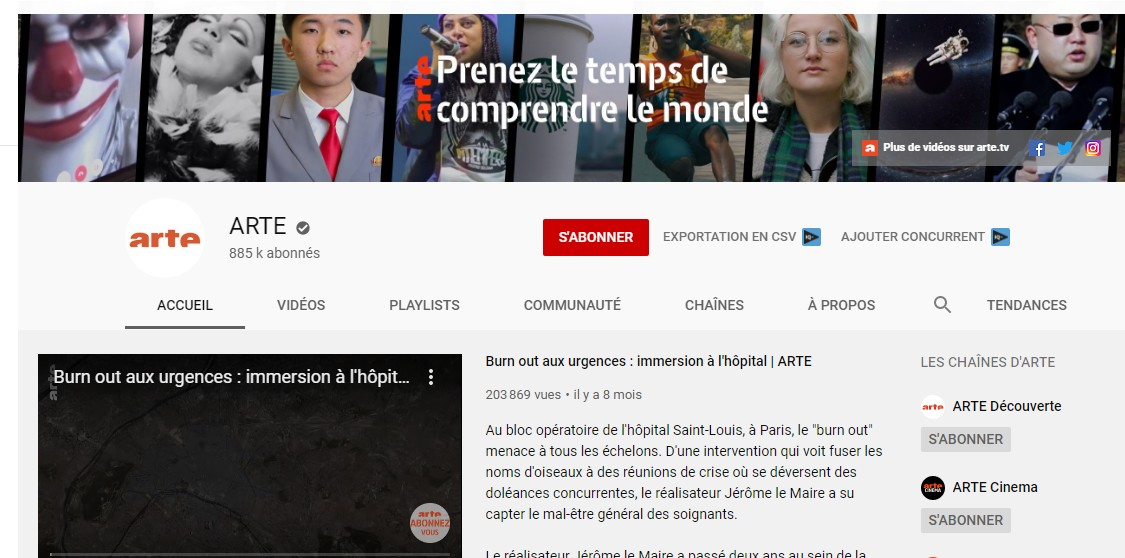 arte sur youtube