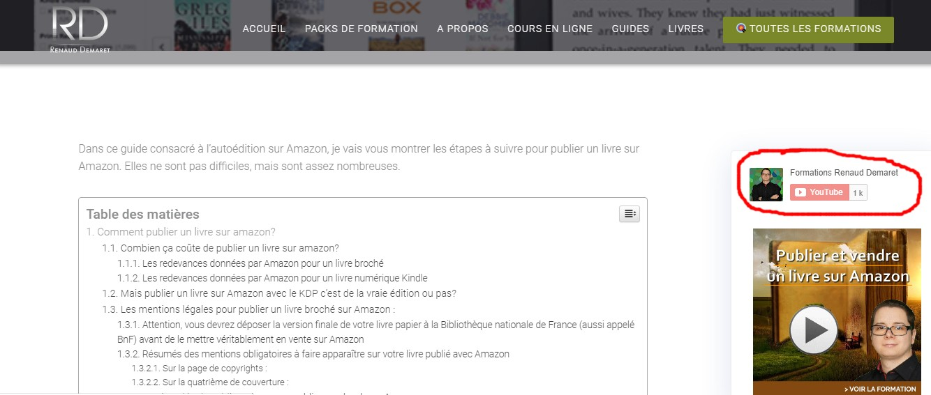 exemple intégration bouton youtube