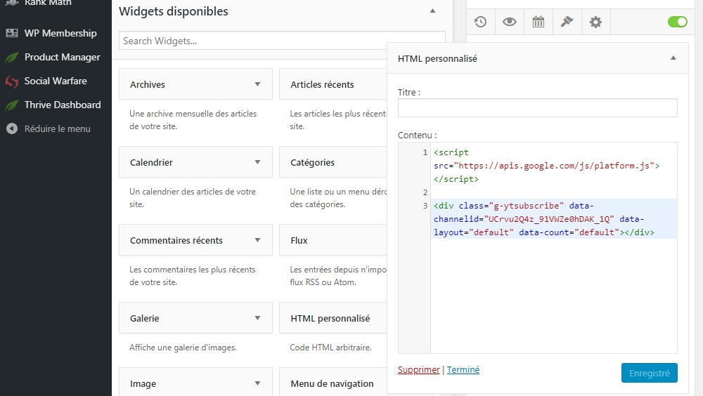 html personnalisé