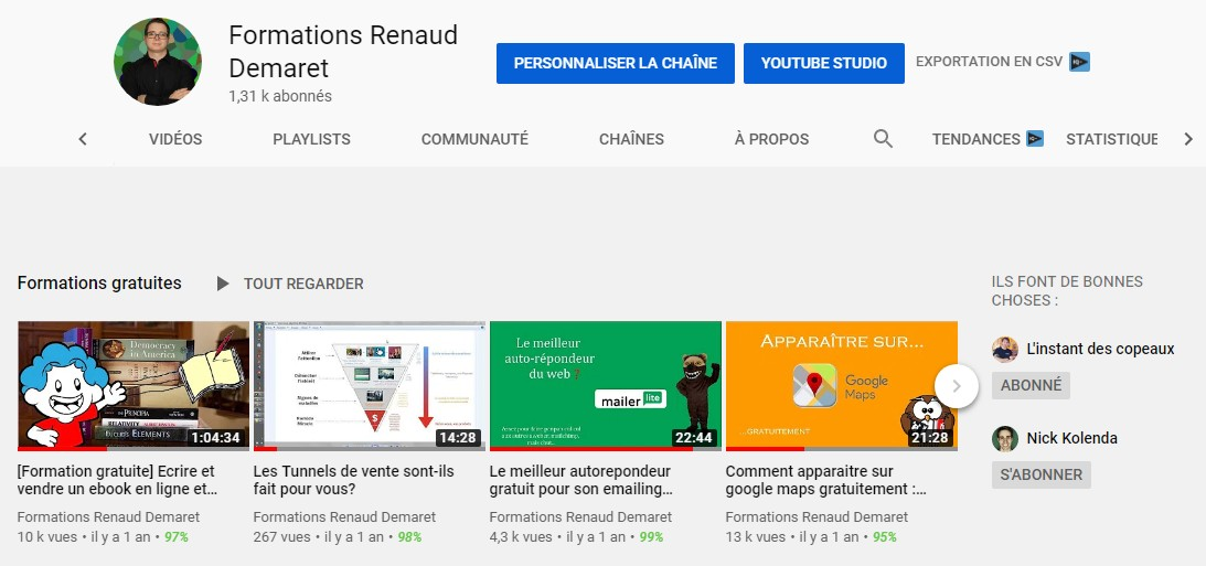 playlists accueil chaine youtube