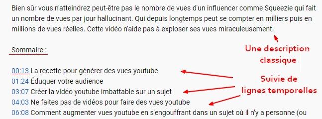 sommaire vidéo youtube