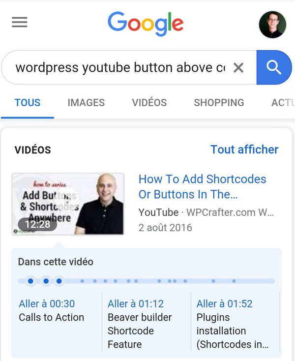 table des matières youtube