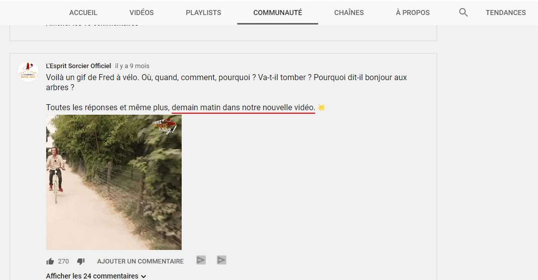 teasing vidéo youtube
