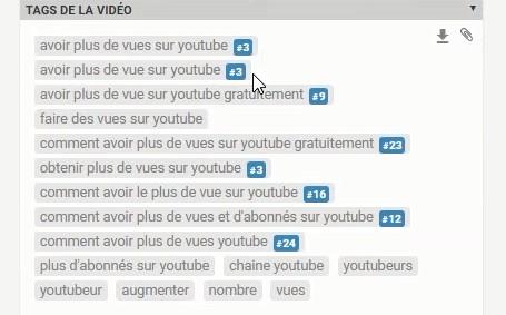 classement des tags de la vidéo