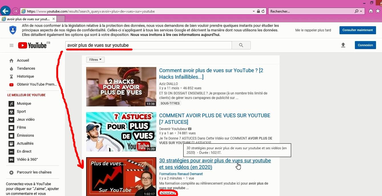 position référencement youtube