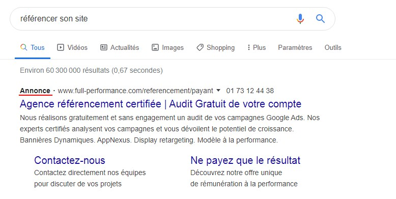annonce google adword