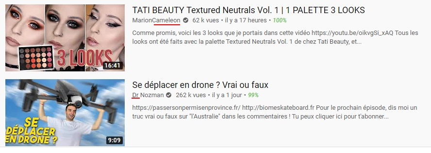 noms de chaine youtube