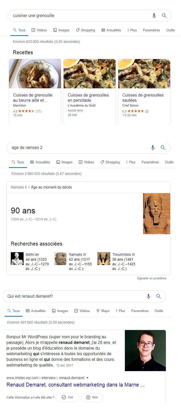 résultats enrichis de google
