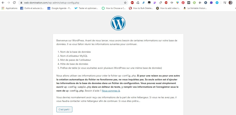 assistant d'installation wordpress
