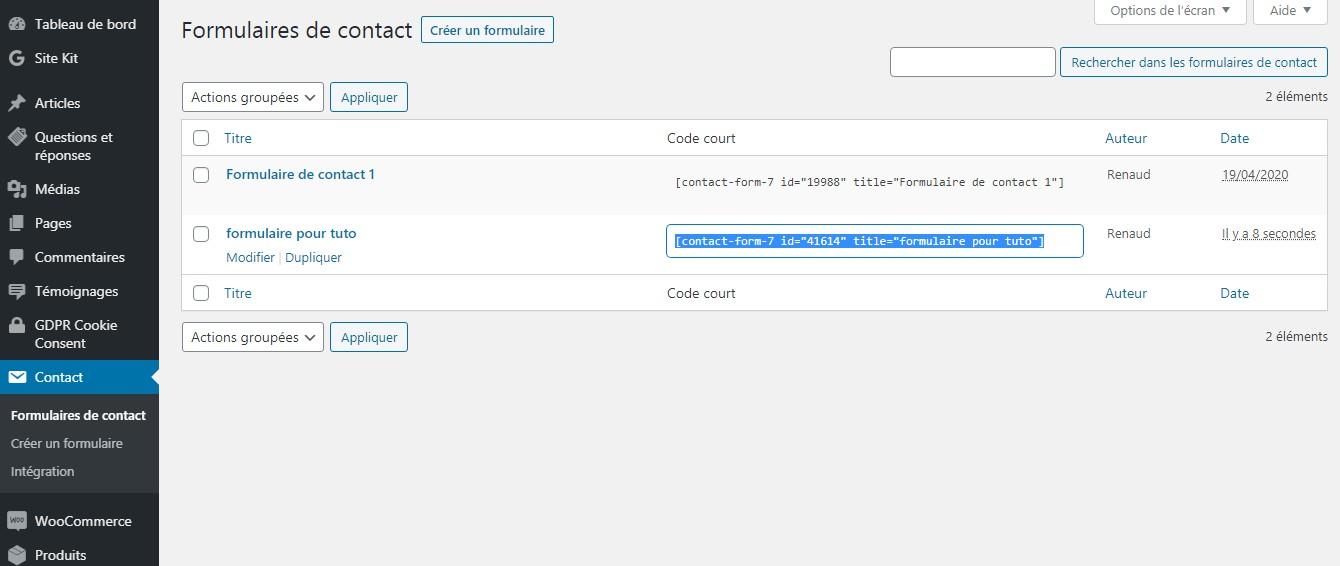 code court formulaire de contact