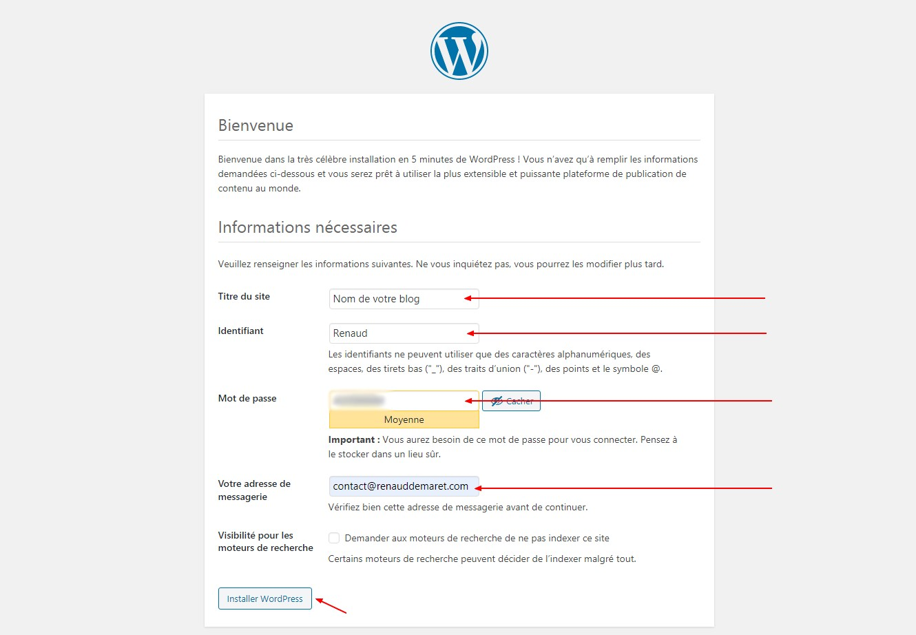 création administrateur wordpress