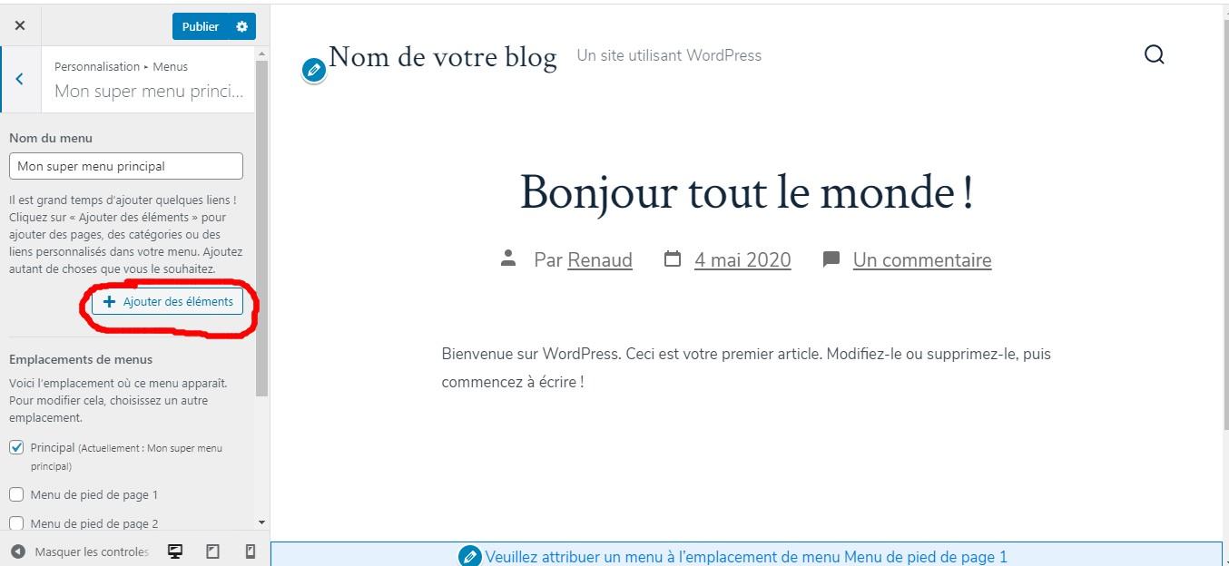 création d'un menu wordpress 1