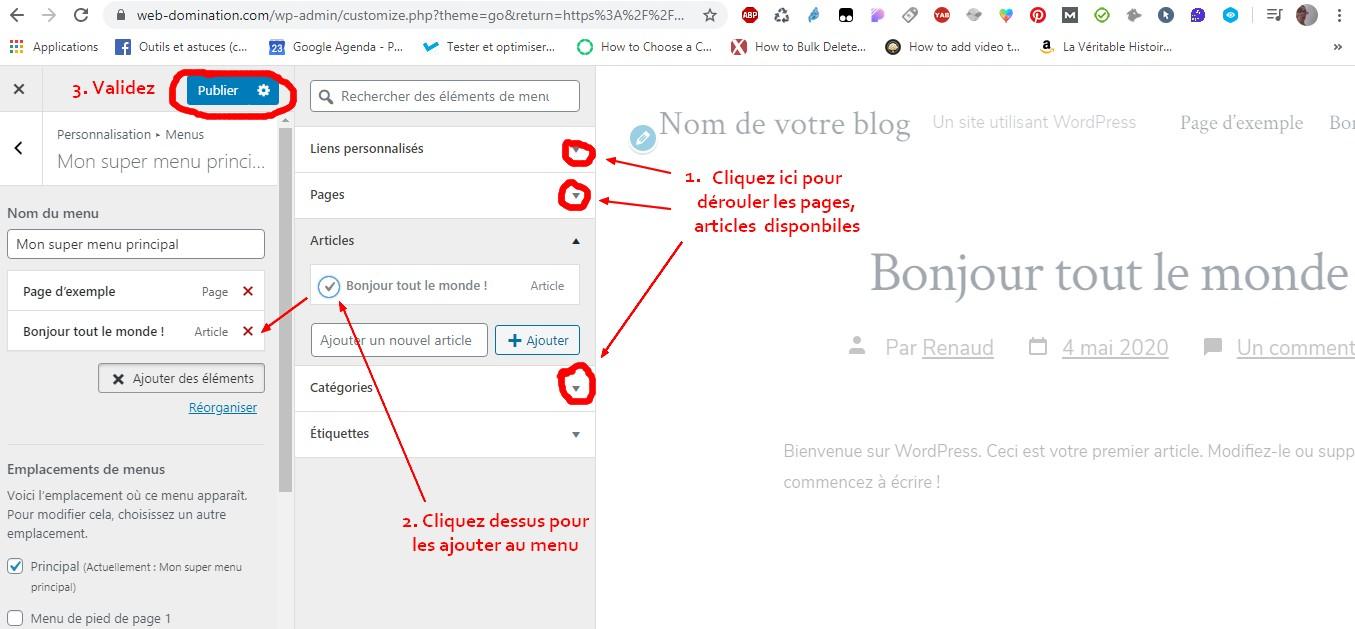 création d'un menu wordpress 2