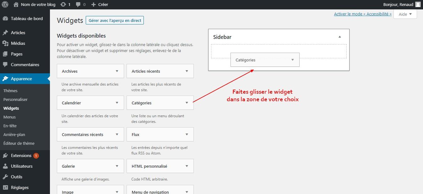 faire glisser un widget wordpress