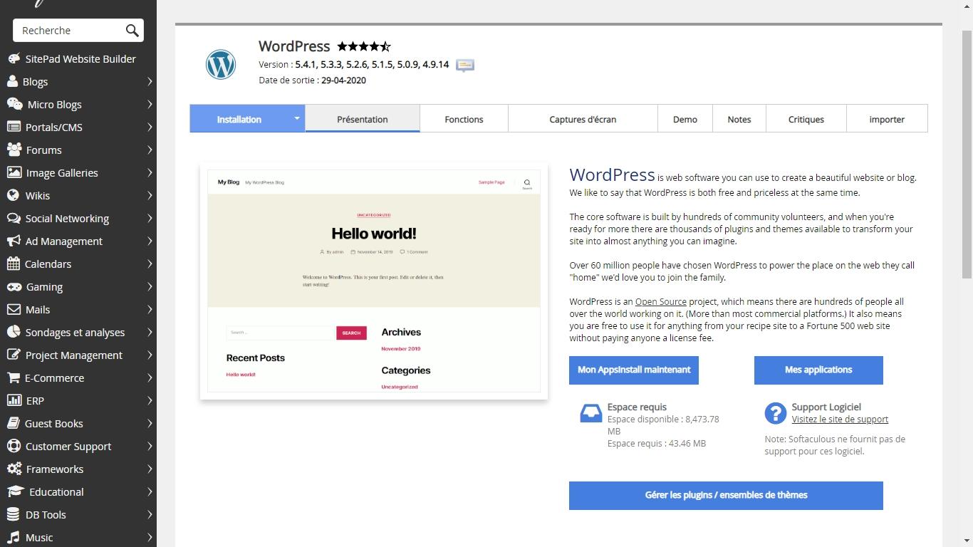 installation wordpress facile