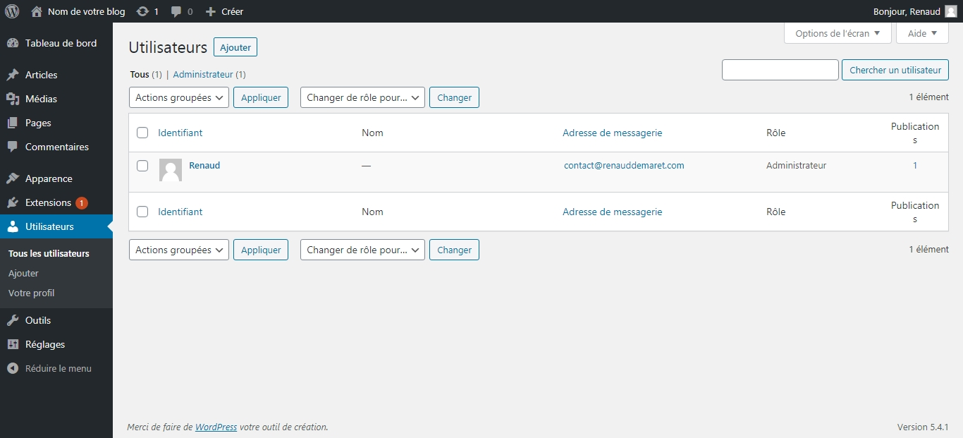 menu utilisateurs wordpress