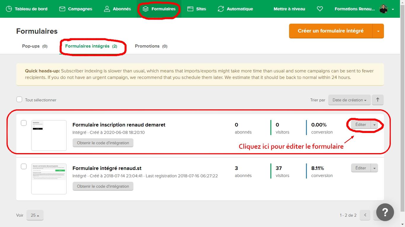 création d'un formulaire intégré sur mailerlite