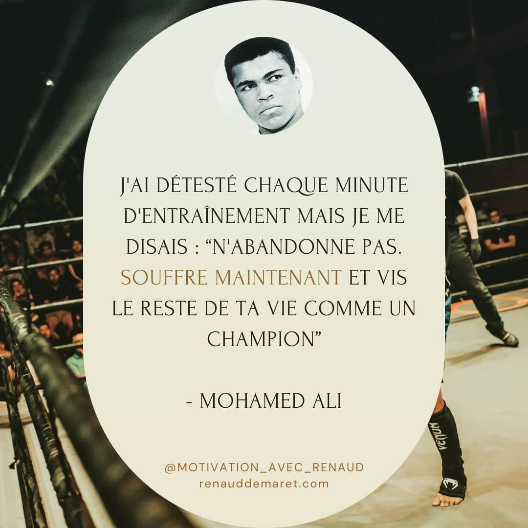 citation mohammed ali entrainement persévérance champion